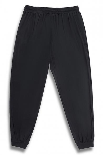 Men's Trendy Letter Printed Zipped Pocket Drawstring Waist Loose Fit Black Casual Track Pants