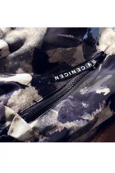 Mens Hot Popular Camouflage Print Hooded Zip Up Sport Loose Jacket Coat