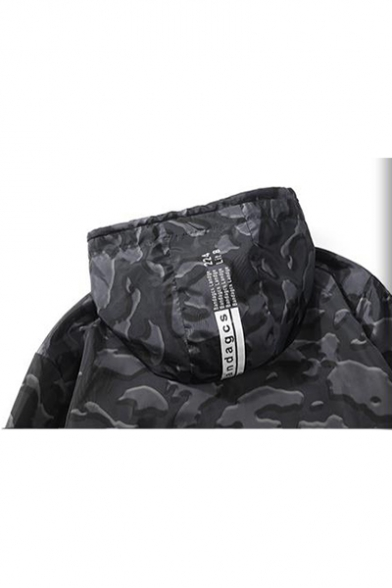 Mens New Stylish Letter Long Sleeve Camo Printed Zip Up Hooded Sport Jacket Coat