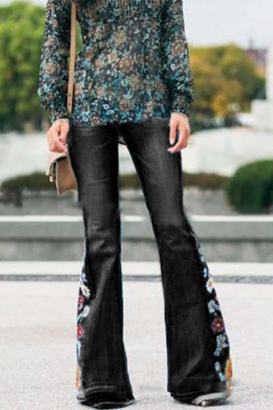 Baycheer / New Arrival Floral Embellished Wide Leg Fitted Boot Cut Denim Pants