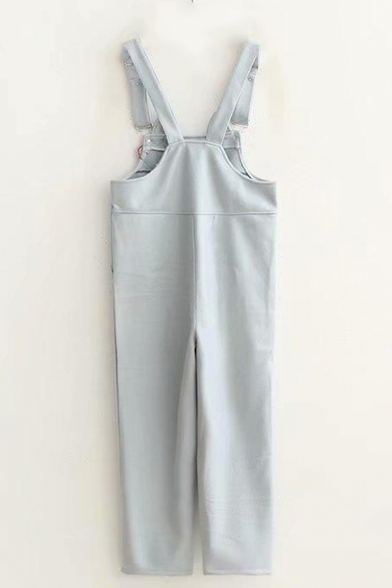 New Arrival Sweet Womens Plain Straps Sleeveless Cat Bow Printed Overall Jumpsuits