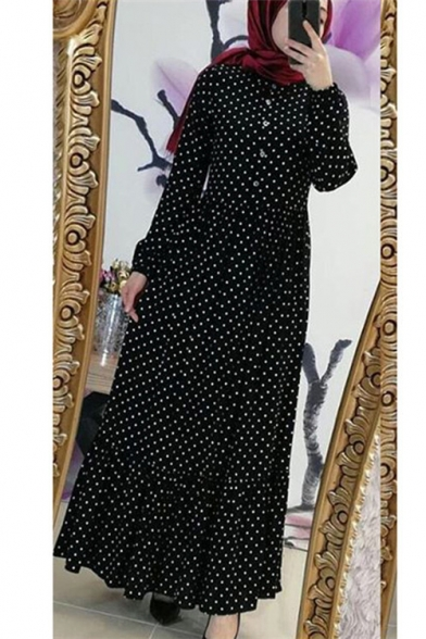 New Stylish Womens Long Sleeve Polka Dot Printed Button Front Pleated Hem Maxi A-Line Dress