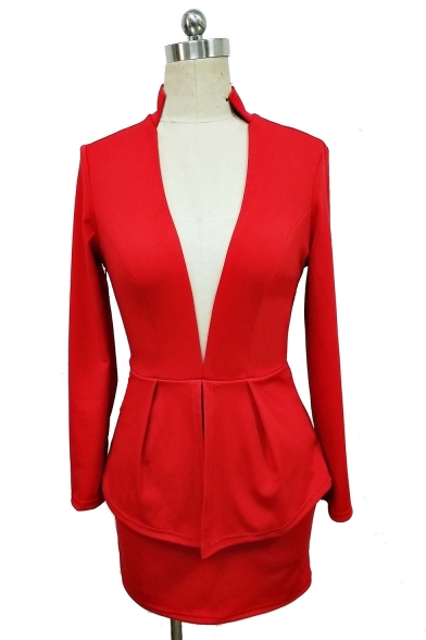 Office Lady Sexy Plunging V-Neck Long Sleeve Peplum Mini Bodycon Blazer Suit Dress