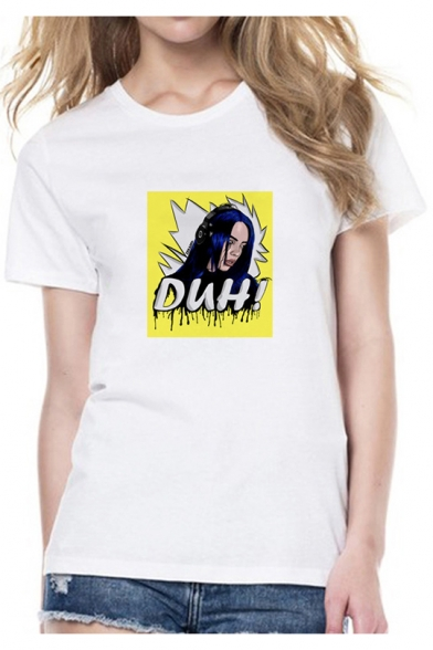 Popular DUH Cartoon Girl Print Round Neck Short Sleeve White Tee