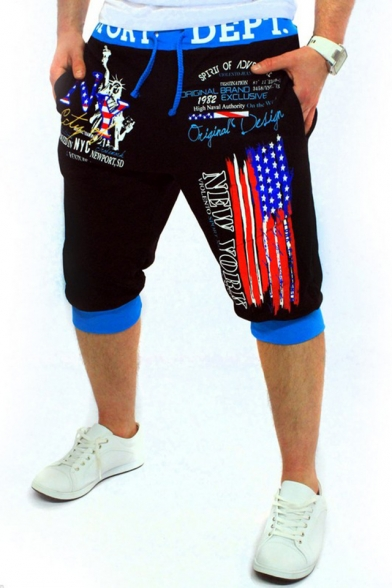 Popular Fashion New York Letter America Flag Printed Drawstring Waist Men's Sports Sweat Shorts