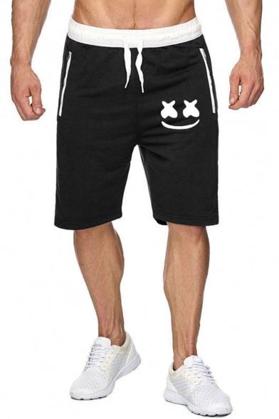 Popular Fashion Smiley Face Print Drawstring Waist Cotton Sweat Shorts for Men