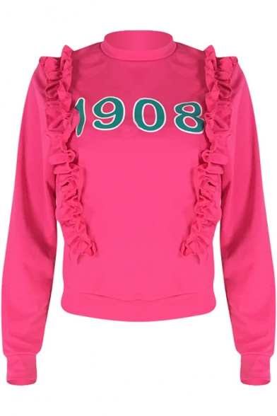 Simple Number 1908 Ruffled Hem Mock Neck Long Sleeve Rose Red Sweatshirt