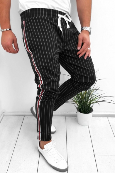 Stylish Pinstripe Pattern Drawstring Waist Men's Fashion Lounge Pants Sweatpants