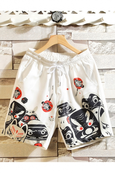 Summer Fashion Grimace Printed Drawstring Waist Casual Cotton Relaxed Shorts
