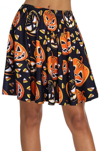 Summer Hot Fashion Halloween Pumpkin Print Elastic Waist Pleated Mini Skater Skirt