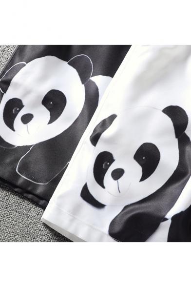 Summer New Fashion Cartoon Panda Printed Drawstring Waist Casual Relaxed Shorts