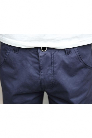 Summer Simple Fashion Solid Color Zip-fly Cotton Casual Chino Shorts for Men