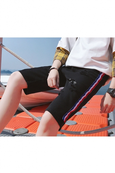 Summer Stylish Letter Printed Contrast Stripe Side Ripped Detail Casual Denim Shorts for Men