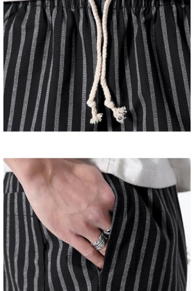 Summer Stylish Stripe Pattern Drawstring Waist Relaxed Chino Shorts