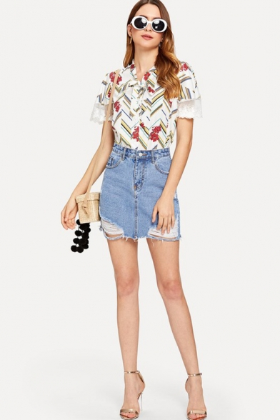 Trendy Floral Printed Bow-Tied Collar Lace Panel Short Sleeve Shirt