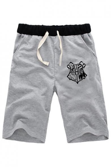 Unisex Popular Fashion Badge Printed Drawstring Waist Casual Relaxed Shorts