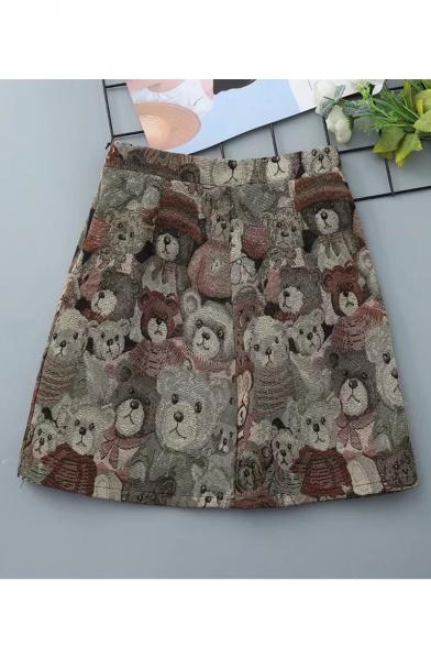 Women Summer Hot Sale High Waist Printed Mini A-Line Skirt