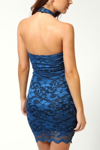 Womens Fancy Halter Neck Sleeveless Mini Bodycon Lace Dress Club Dress
