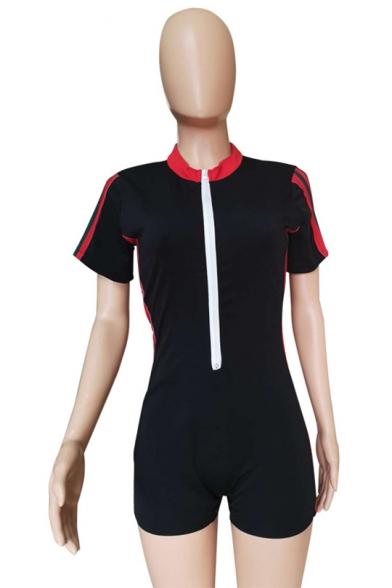 Womens Fancy Hot Stylish Black Zip-Front Striped Side Short Sleeve