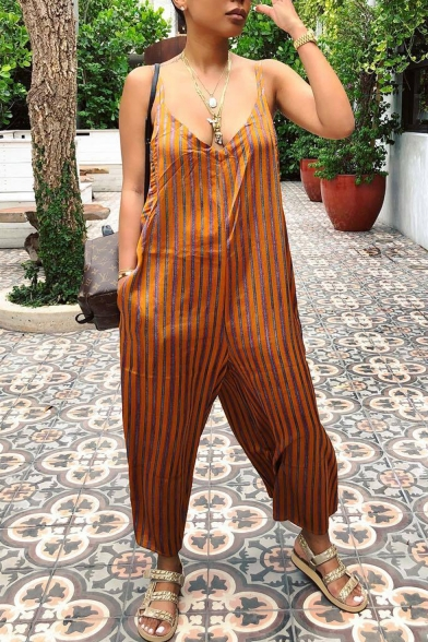 Womens Hot Stylish V-Neck Double Straps Sleeveless Striped Printed Wide Leg Loose Orange Jumpsuits