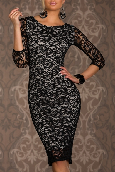 Baycheer / Womens Sexy Round Neck Long Sleeve Midi Bodycon Dress Lace Pencil Dress