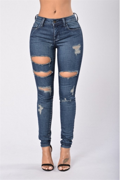 Womens Stylish Dark Blue Destroyed Ripped Hole Skinny Fit Jeans