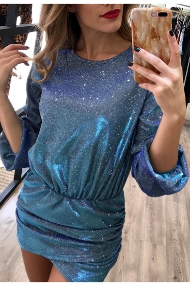 Womens Trendy Night Club Glitter Round Neck Lantern Long Sleeve Mini Bodycon Dress