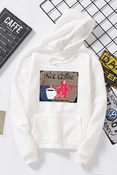 Cartoon Letter HOT COFFEE Print Long Sleeve Loose Casual Pullover Hoodie