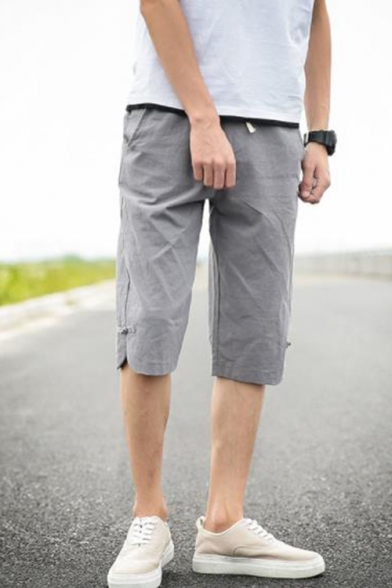Chinese Style Buckle Detail Simple Plain Liner Casual Loose Shorts