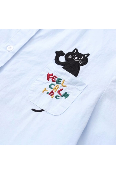 Cute Cartoon Letter Cat Pocket Simple Long Sleeve Button Down Casual Shirt