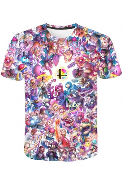 Fashion 3D Cartoon Comic Figure Printed Round Neck Short Sleeve Summer Tee