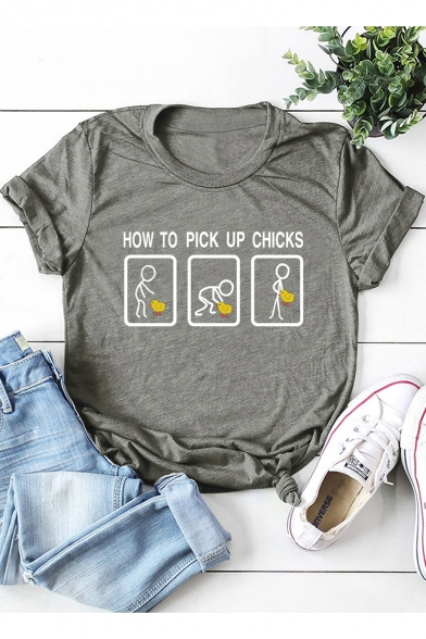 Funny Figure Letter HOW TO PICK UP CHICKS Pattern Casual Short Sleeve Graphic Tee