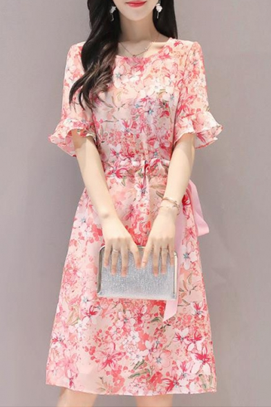Girls Summer Chic Floral Printed Round Neck Flared Sleeve Elastic Bow-Tied Waist Midi A-Line Dress