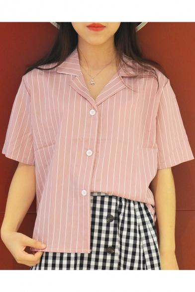 Girls Summer Retro Notched Lapel Collar Vertical Striped Short Sleeve Button Shirt