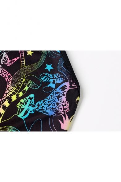 Hot Stylish Halter Sleeveless Crisscross Back Multicolor Mushroom Print Slim Fit Romper