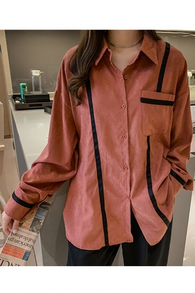 Hot Stylish Womens Oversize Striped Embellished Lapel Collar Button Front Chest Patch Pocket Long Sleeve Shirt