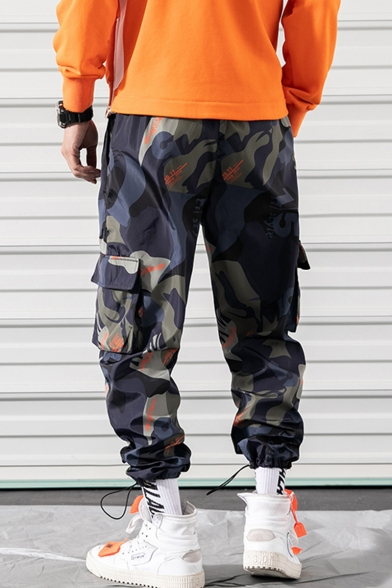 Men's Fashion Popular Camouflage Letter Printed Flap Pocket Side Drawstring Cuffs Hip Pop Casual Cargo Pants