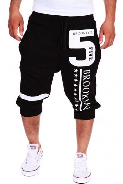 Men's Popular Fashion Letter 5 Stars Printed Drawstring Waist Casual Sports Sweat Shorts