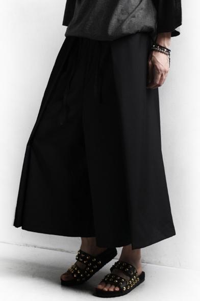 Men's Popular Fashion Solid Color Black Cotton Culottes Wide Leg Pants