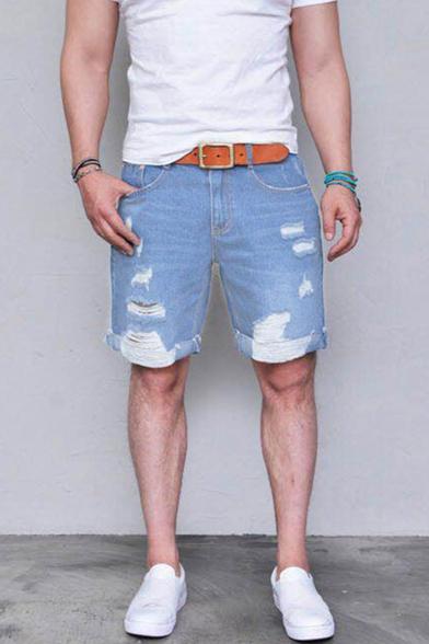 Men's Simple Fashion Ripped Detail Solid Color Light Blue Denim Shorts