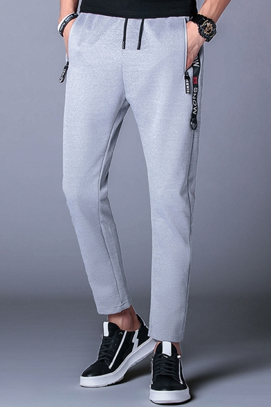 Men's Stylish Letter Printed Ribbon Embellished Zipped Pocket Drawstring Waist Casual Sports Sweatpants