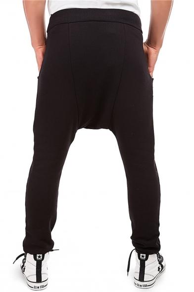 Men's Stylish Solid Color Zipper Embellishment Drop-Crotch Drawstring Waist Joggers Harem Pants