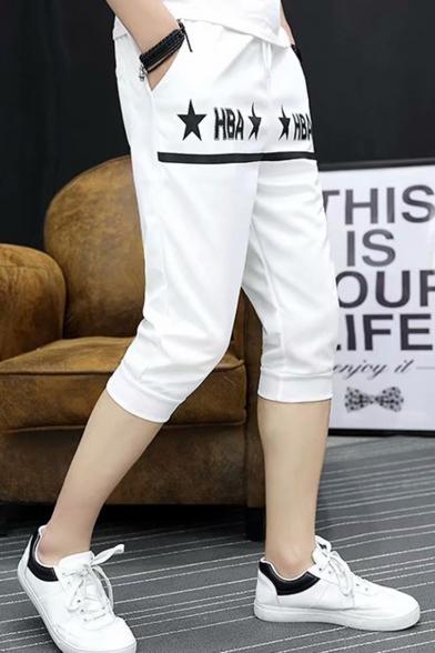 Men's Summer Fashion Letter HBA Star Printed Drawstring Waist Sports Sweat Shorts