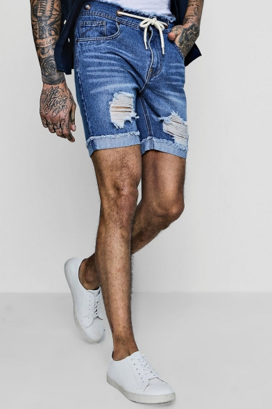 Men's Summer New Fashion Plain Frayed Ripped Detail Rolled Cuffs Blue Denim Shorts