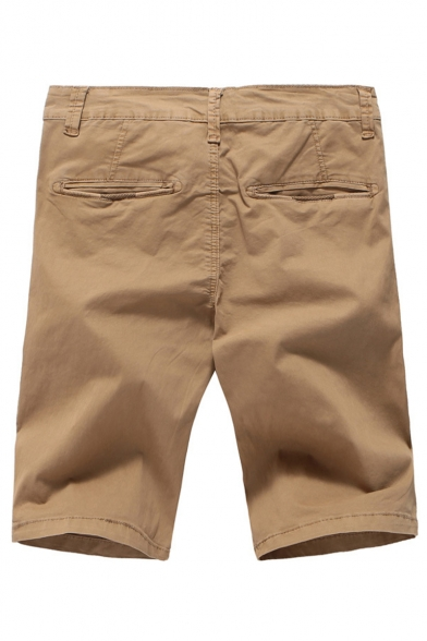 Men's Summer New Fashion Solid Color Pleated Detail Cotton Cargo Shorts Casual Chino Shorts