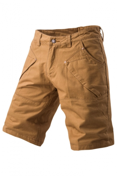 Men's Summer New Stylish Solid Color Casual Cargo Shorts