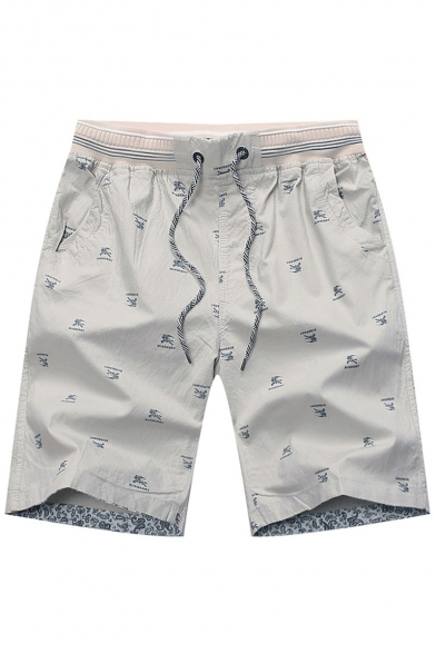 Men's Summer Stylish All-over Printed Drawstring Waist Casual Relaxed Shorts