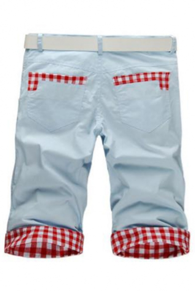 Men's Summer Trendy Plaid Pattern Slim Fit Casual Cotton Chino Shorts