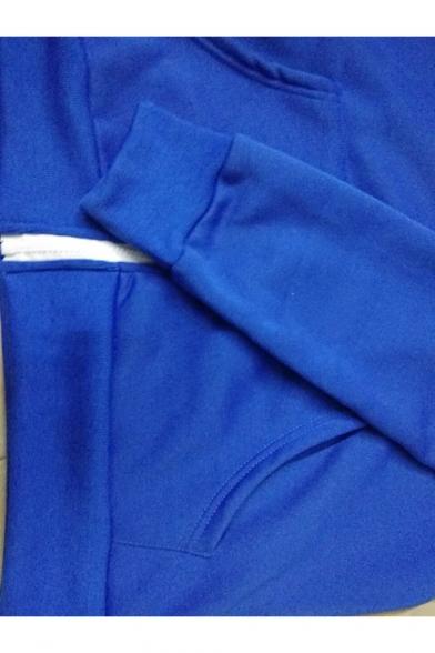 Mens Popular Blue Long Sleeve Zip Up Fur-Trimmed Comic Hoodie