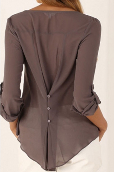 Popular Simple Plain Button V-Neck Long Sleeve Coffee Chiffon Blouse